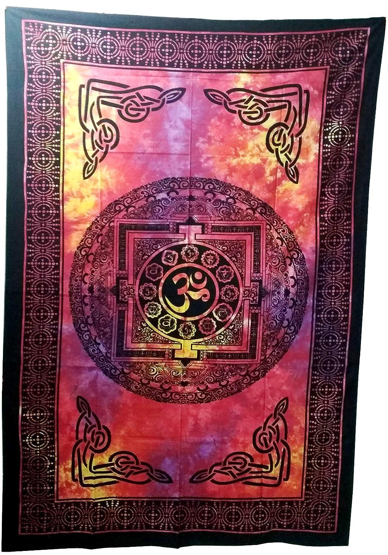 Purpledip コットンベッドカバー ウォールスロー「Sacred Om」:サイケデリックボーホープリントシート(20021) B07MKTXH98