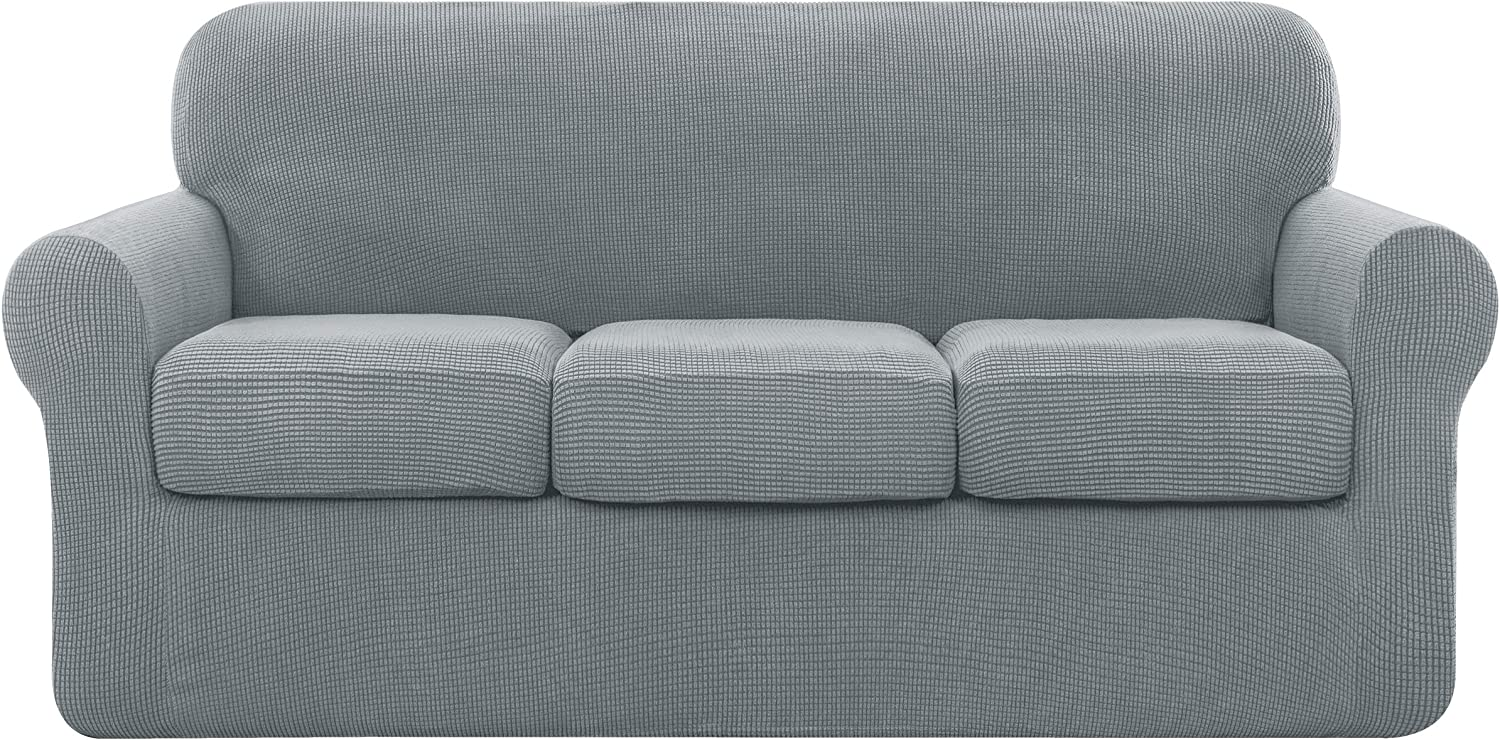 subrtex Sofa Cover High Stretch Couch Slipcover with Separate Cushion Couch Cover Soft Loveseat Slipcover Furniture Protector Machine Washable(Light Gray,Large)