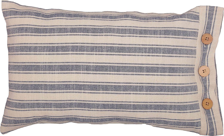 "Piper Classics Market Place Blue Ticking Stripe Pillow Cover, 12"" x 20"", Farmhouse Décor Blue & Natural Cream w/Buttons"