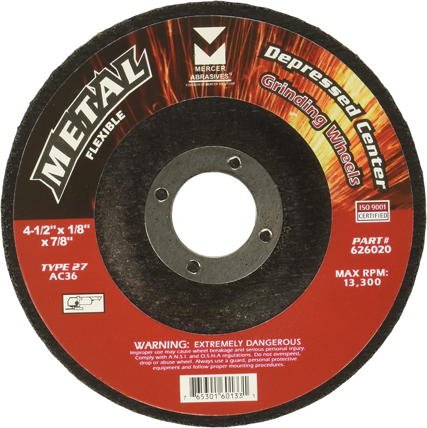 25 Pack 4-1//2 x 1//8 x 7//8 Mercer Tool Corp Mercer Industries 623610 Type 27 Pipe Cutting and Light Grinding Wheel for All Metals 4-1//2 x 1//8 x 7//8 Including SS - Tools