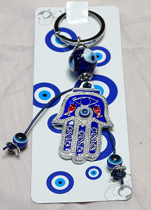 Hamsa Hand with Blue Evil Eyes Protection Keychain