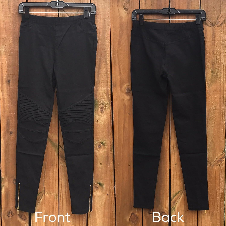 8b68e74a2152a Sassyclassyjewelry Womens Moto Leggings Zipper Jeggings Stretchy Biker  Pants Pleated Black Skinny Jeans at Amazon Women's Clothing store: