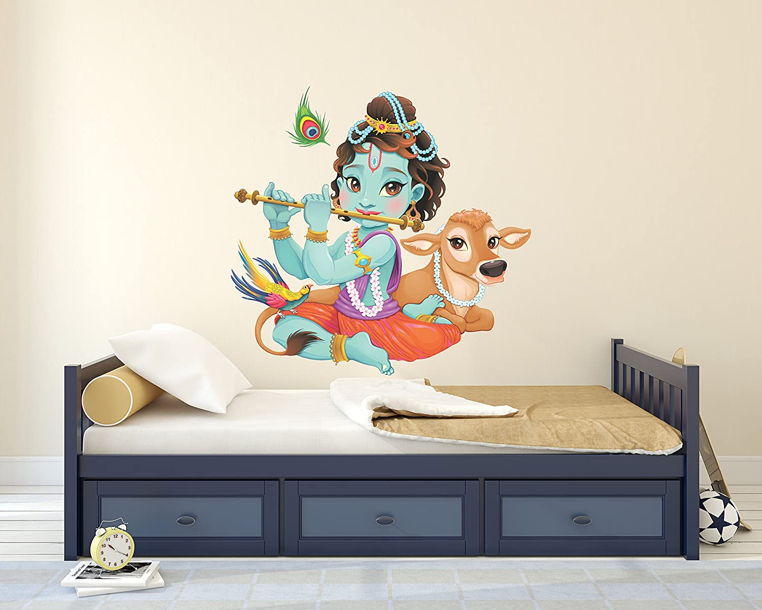 Amazon child krishna playing flute with baby cow wall decal amazon child krishna playing flute with baby cow wall decal baby krishna playing flute indian deity wall decoration wdset10077 home kitchen amipublicfo Gallery