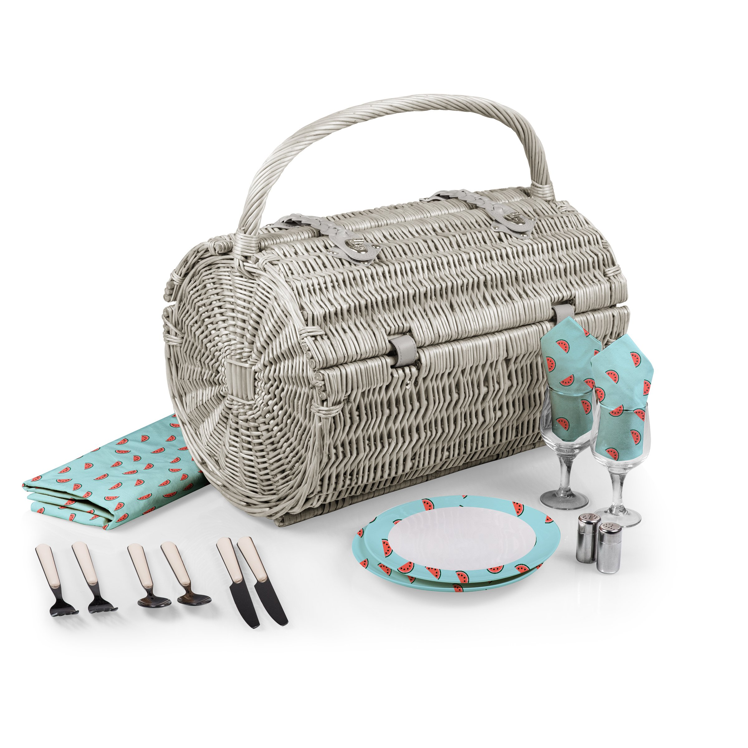 Picnic Time Barrel Picnic Basket with Service for Two, Watermelon Collection by PICNIC TIME