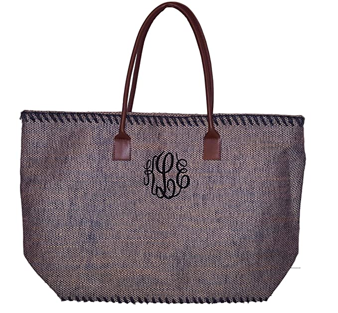 c84d153d3 101 BEACH Large Brown Jute Tote Bag - Personalized Custom Embroidered  Monogram