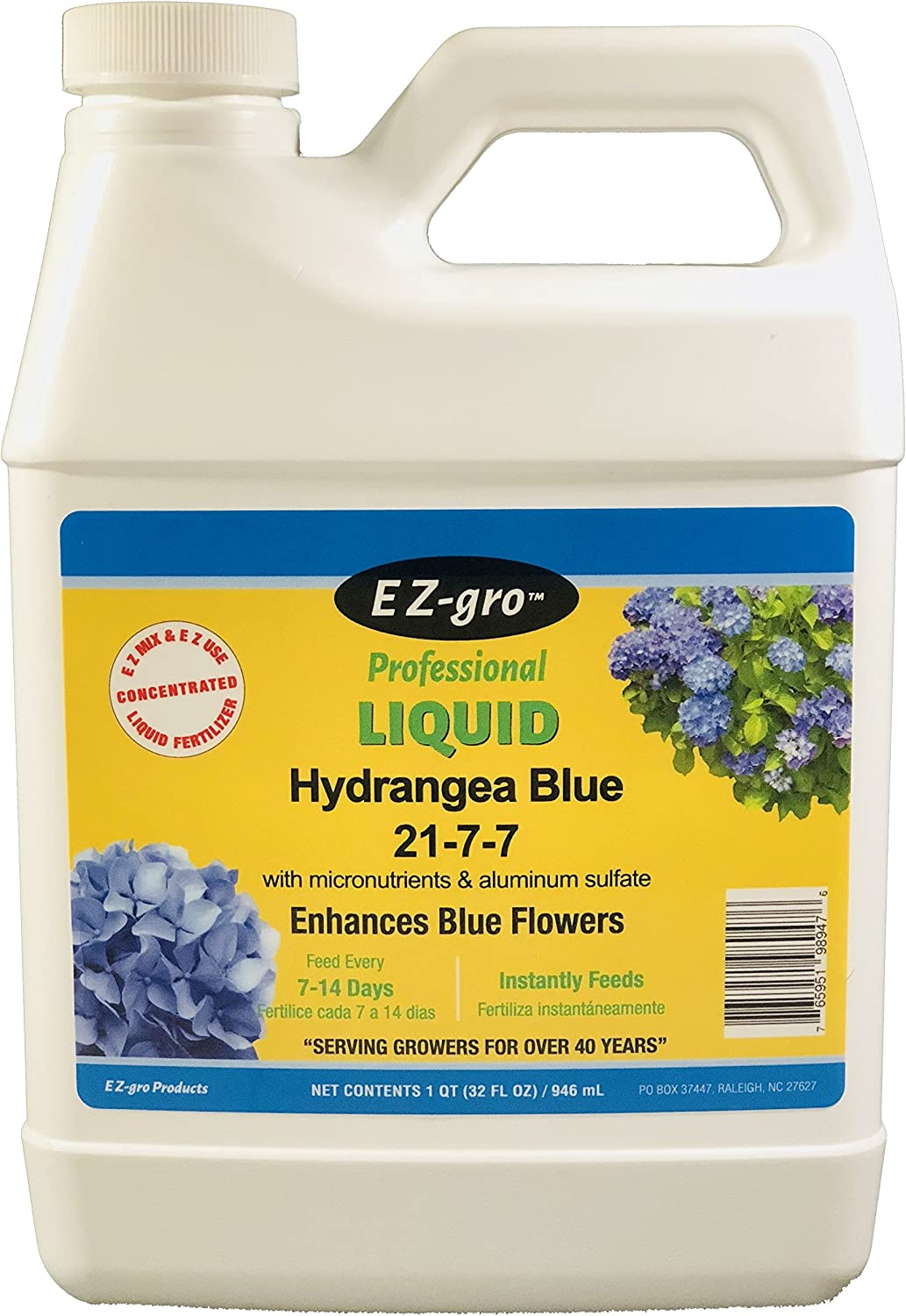 Hydrangea Fertilizers by E Z-GRO 21-7-7 with Added Aluminum Sulfate to Produce Blue Flowers | EZ-gro Hydrangea Fertilizer is Also an Excellent Rhododendron Fertilizer and Azalea Fertilizer | 1 qt