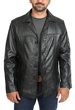 A1 FASHION GOODS Mens Fitted Blazer Leather Jacket Harris Black Classic Reefer Box Coat (Small