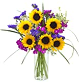 Harmony Hearts Mixed Bouquet of Sunflowers, Dianthus, Statices, Green Mist and Lush Bear Grass with Vase - by KaBloom