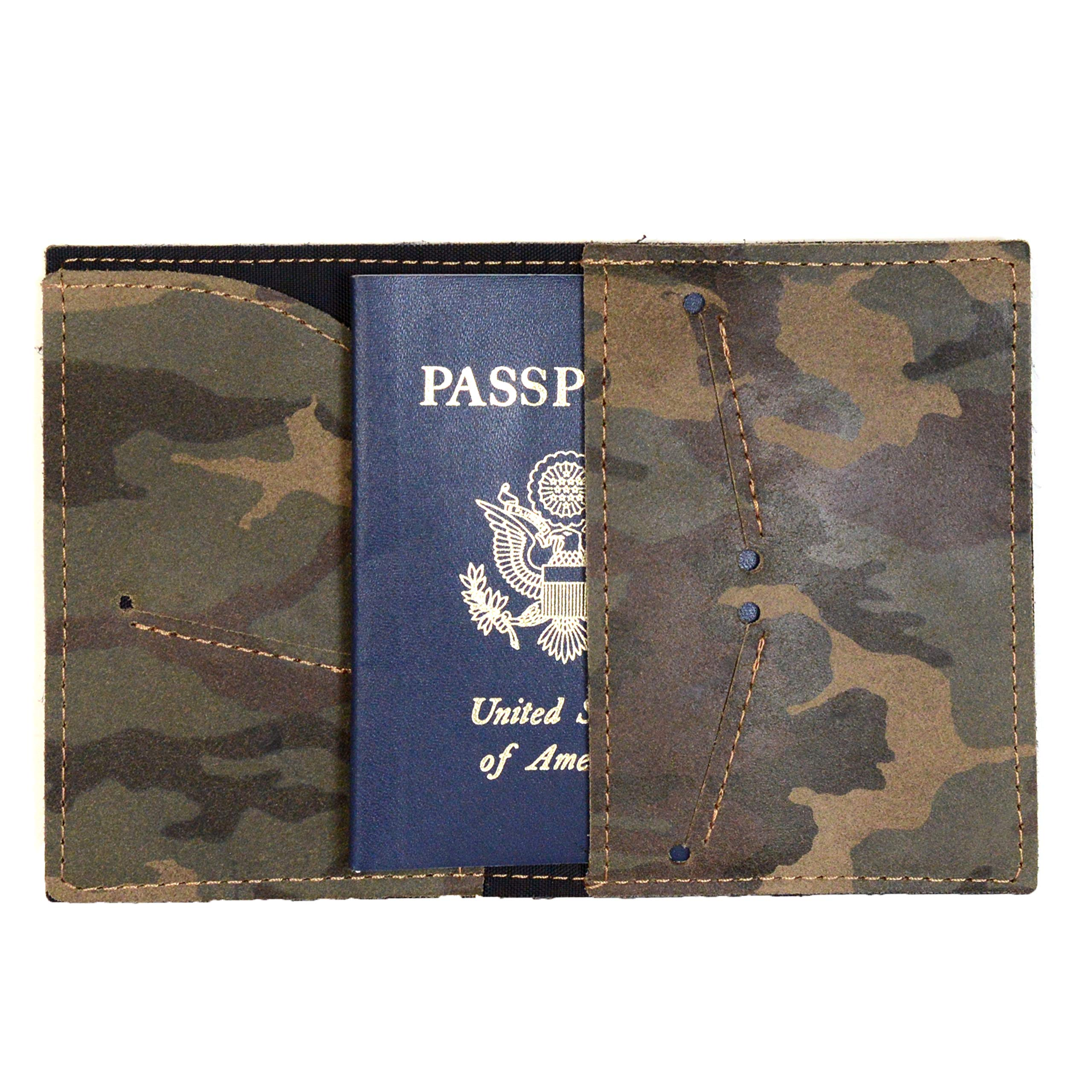 Handmade Camouflage Leather Passport Holder   Camo Passport Cover or Travel Wallet- Gift for Him Men Husband Dad Grad Father's