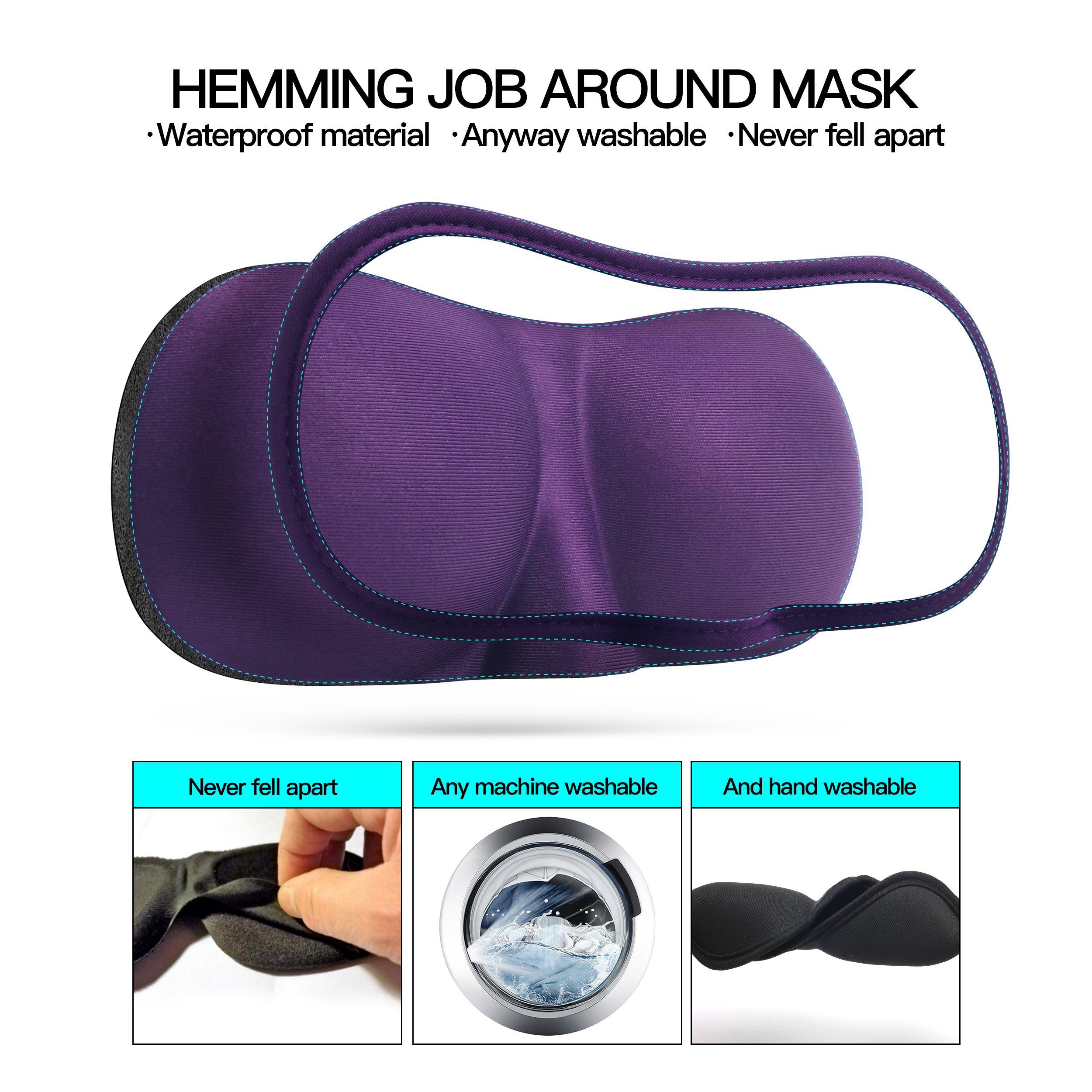 .3D Sleep Mask (Any machineable New Design 2 Pack) Eye Mask for Sleeping Locking Light 100%-Never Broken - Blindfold Airplane mask- Night Blinder Eyeshade for Men Women by leeken (Image #3)