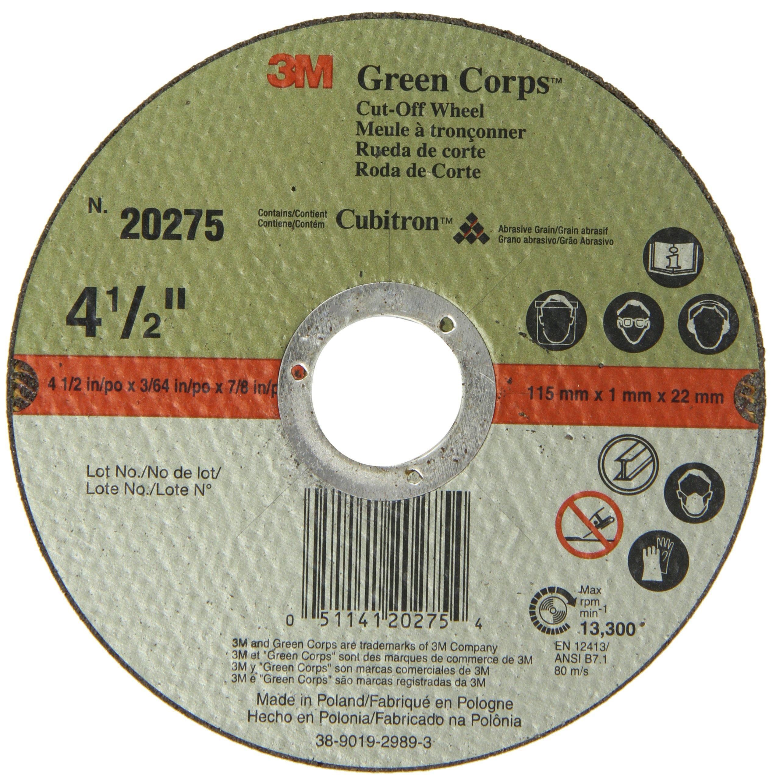 3M Green Corps Cut-Off Wheel 20275, Ceramic, 13300 rpm, 4-1/2'' Diameter x 3/64'' Width, 7/8'' Arbor, Green (Pack of 50)