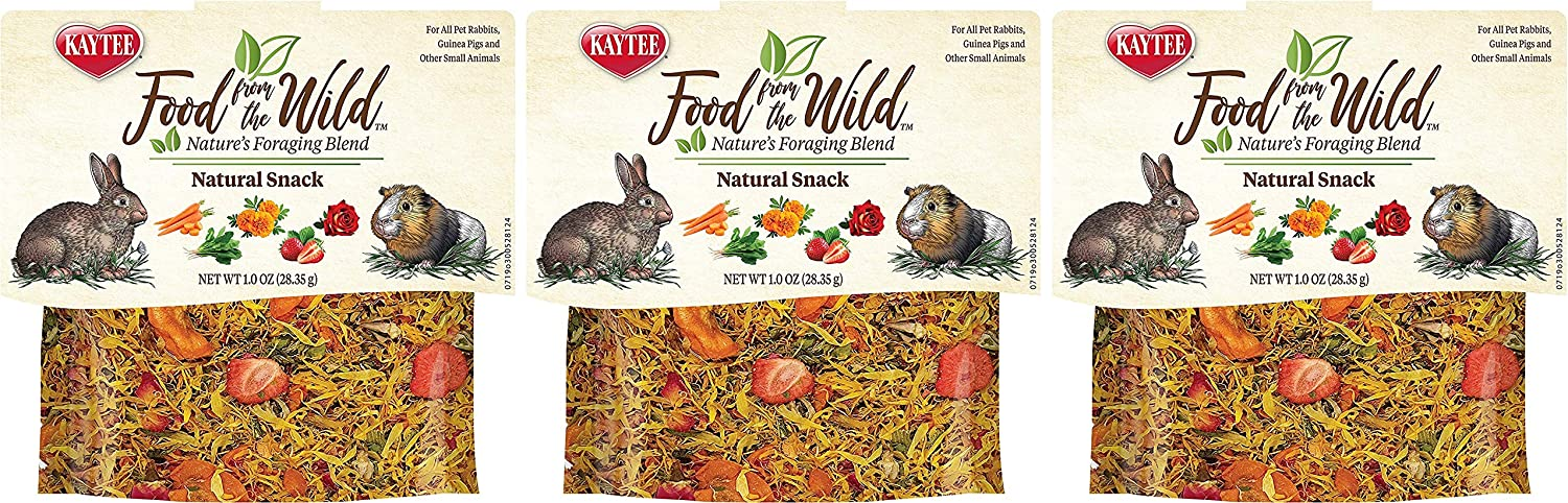 Kaytee 3 Pack of Food from The Wild Natural Snack, 1 Ounce Each, Foraging Treat for Rabbits, Guinea Pigs and Other Small Animals