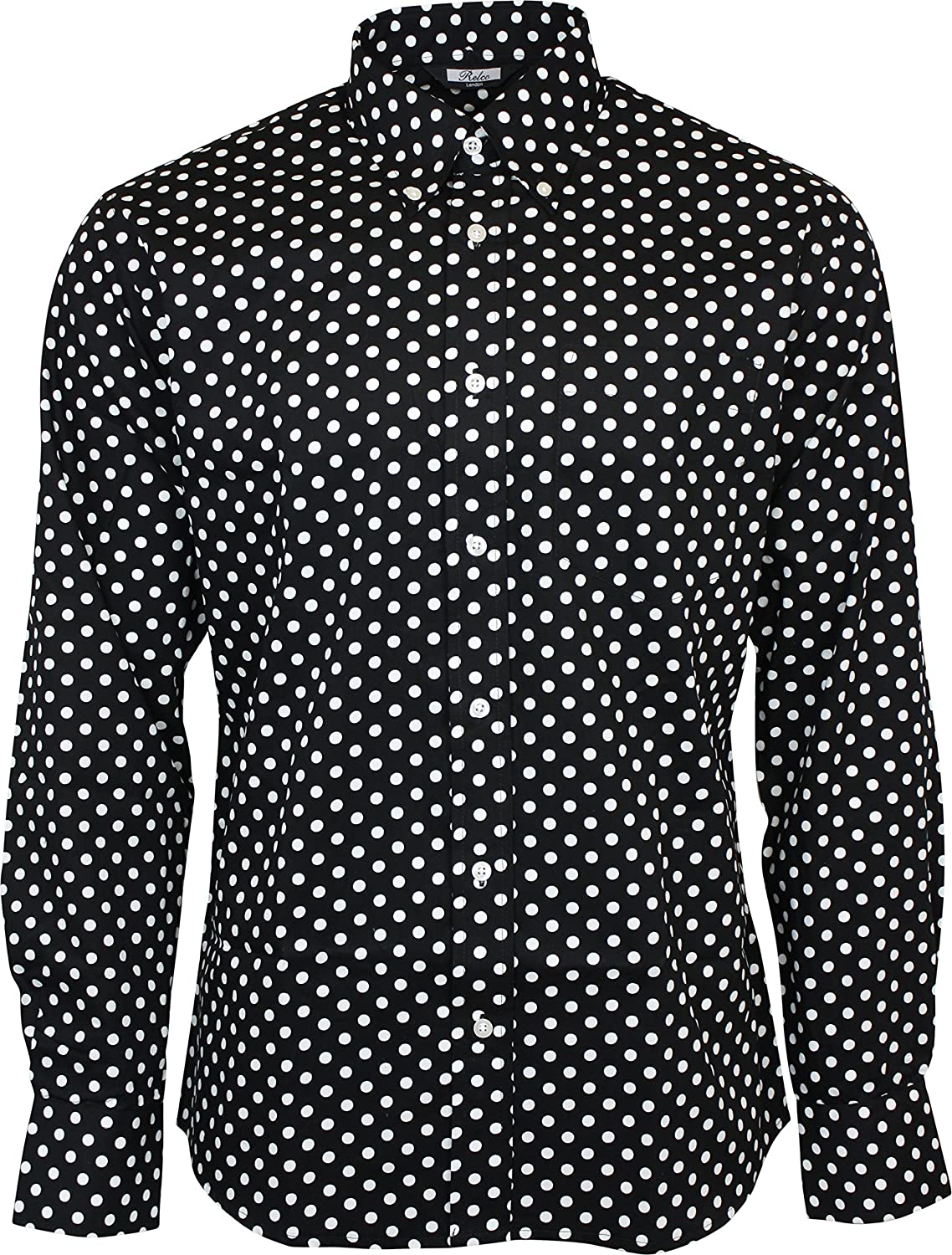 "Beautiful Polka Dot Print Shirt from Huffer. - % Cotton - Black Background with White Polka Dot Print - Short Sleeve - Size Medium - 38"" Chest (UK 38/EU 48) - ."