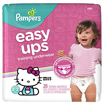 bf020e6fab0 Pampers Easy Ups Training Pants Pull On Disposable Diapers for Girls Size 4  (2T-3T), 26 Count, JUMBO