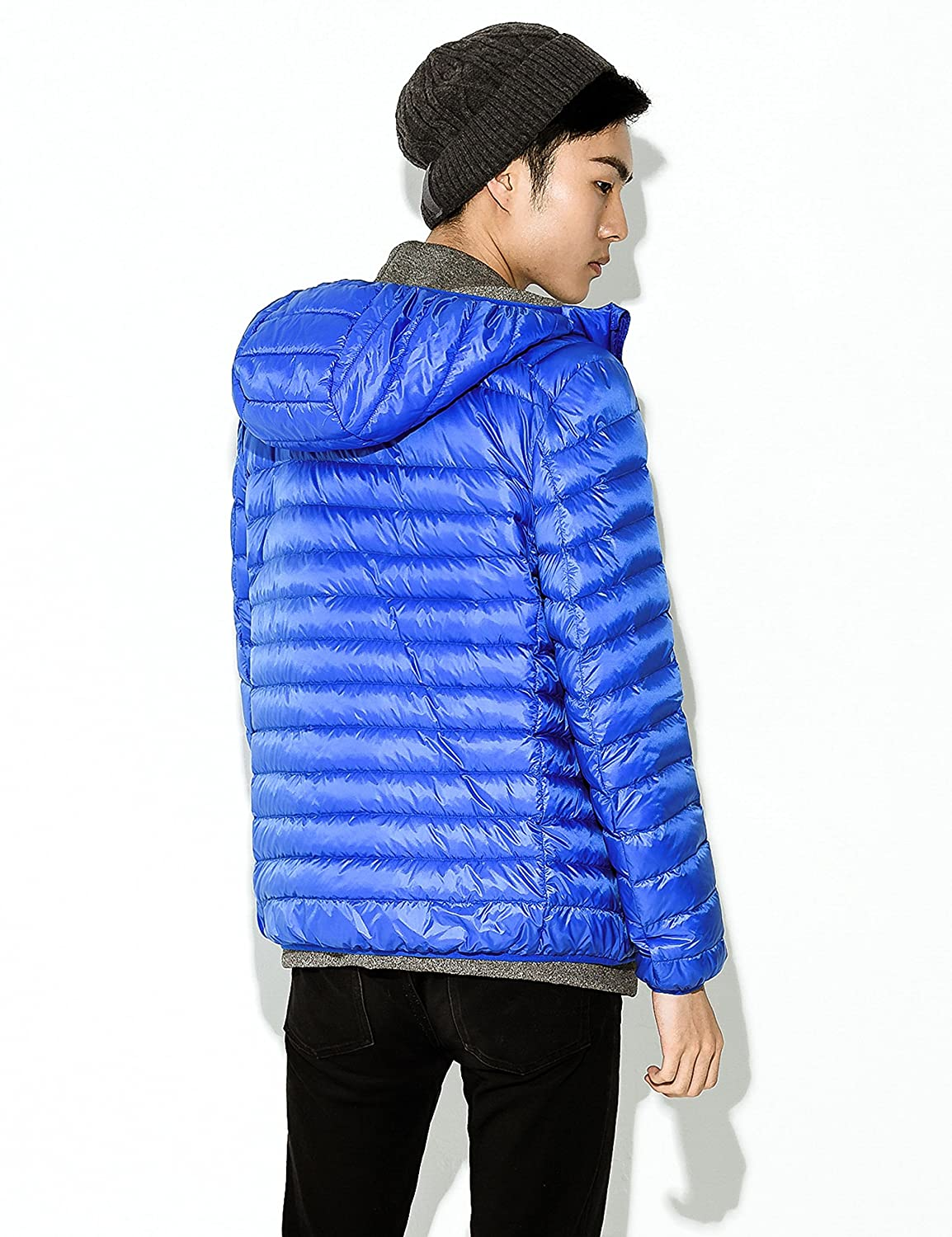 Yeokou Mens Packable Lightweight Quilted Short Hooded Down Puffer Jacket Coat