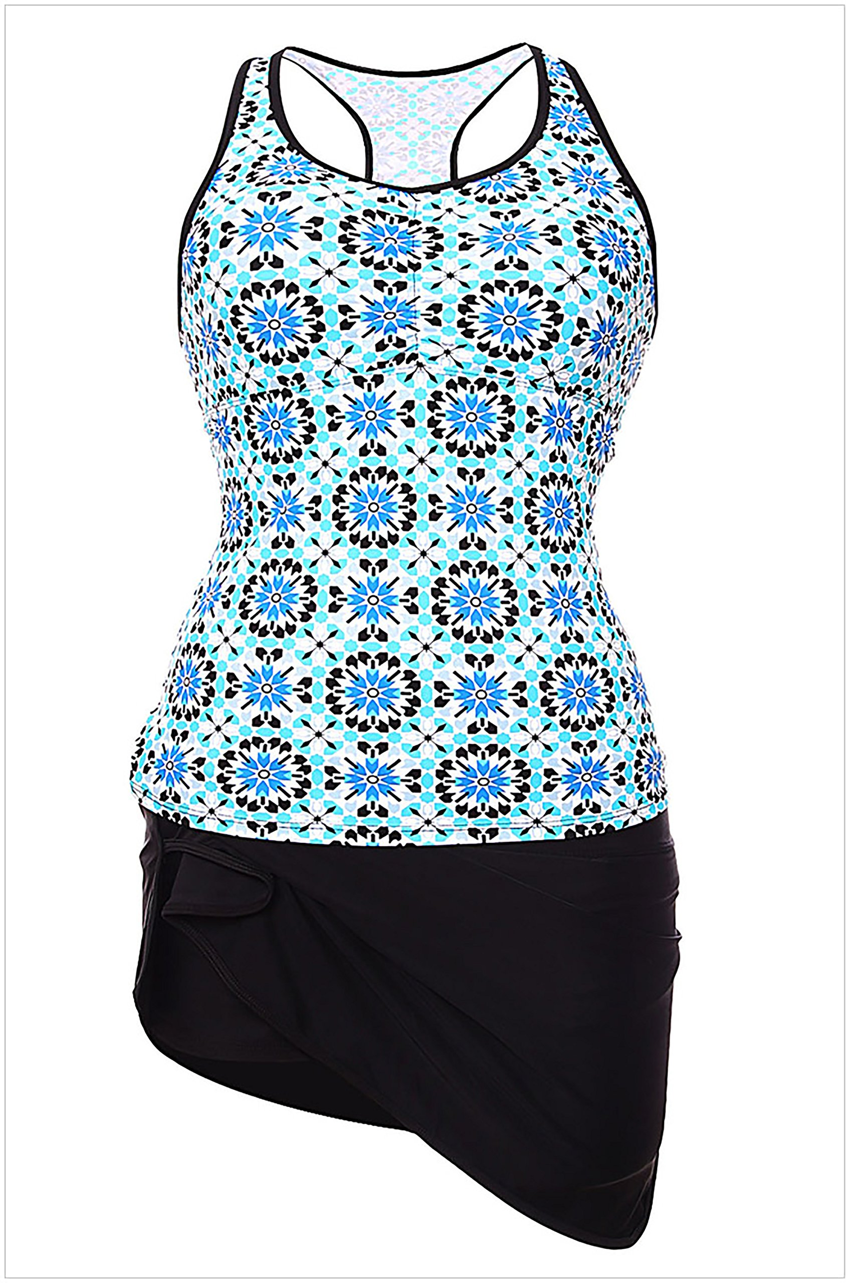 FlyMaff Abstract Print Racerback Tankini Blue Skort Swimsuit(Wathet L)