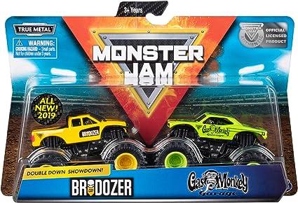 Amazon Com Monster Jam Offical Brodozer Vs Gas Monkey Die Cast Monster Trucks 1 64 Scale 2 Pack Toys Games