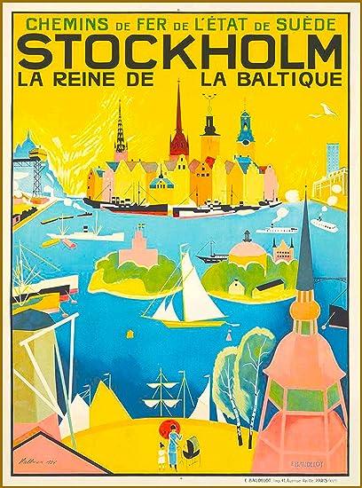 A SLICE IN TIME Stockholm La Reine de La Baltique Suede Sweden Scandinavia  Vintage Travel Advertisement Art Collectible Wall Decor Poster  10 x 13 5