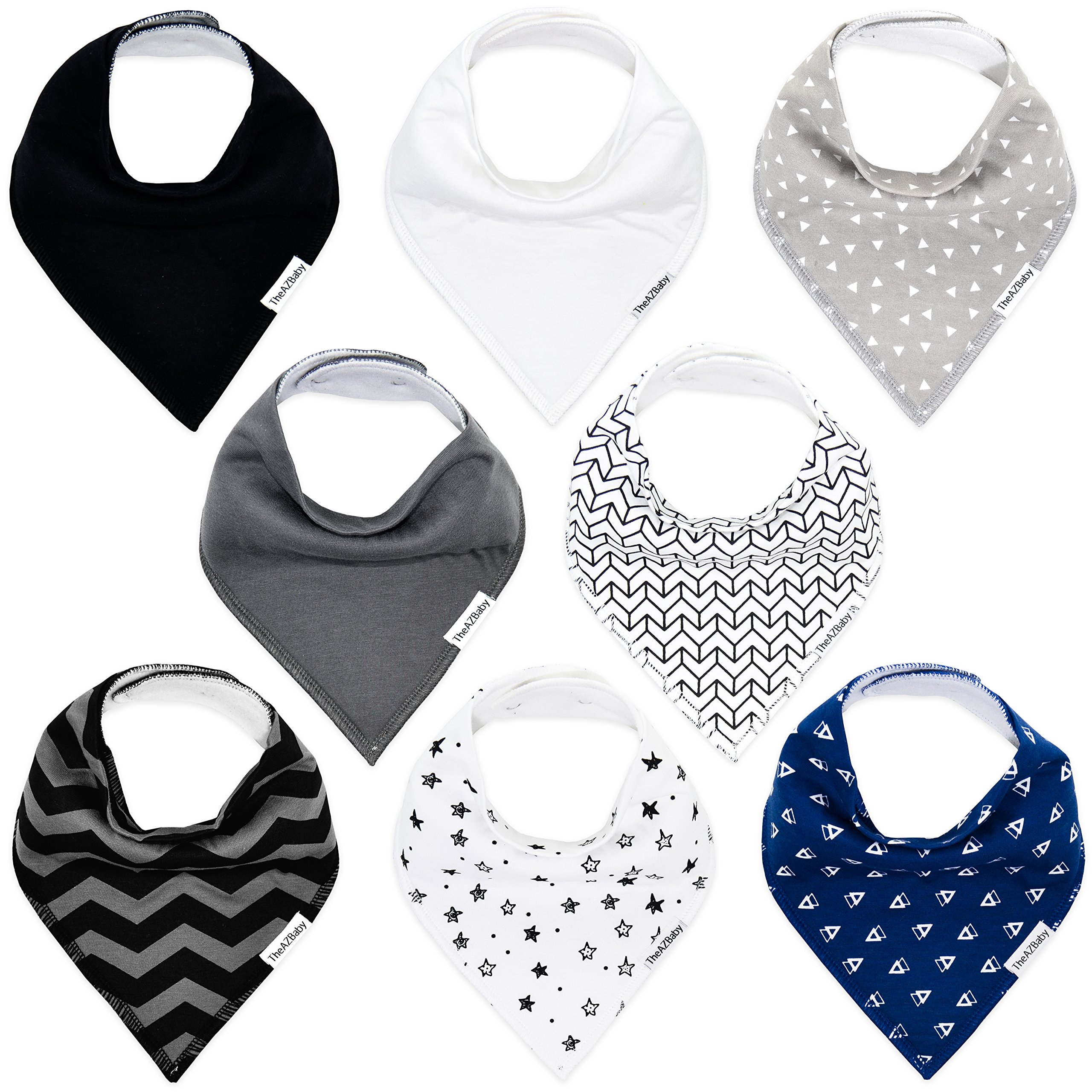 TheAZBaby Baby Bandana Drool Bibs for Boys and Girls, Organic, Plain colors, Unisex 8 Pack Baby Shower Gift Set for…