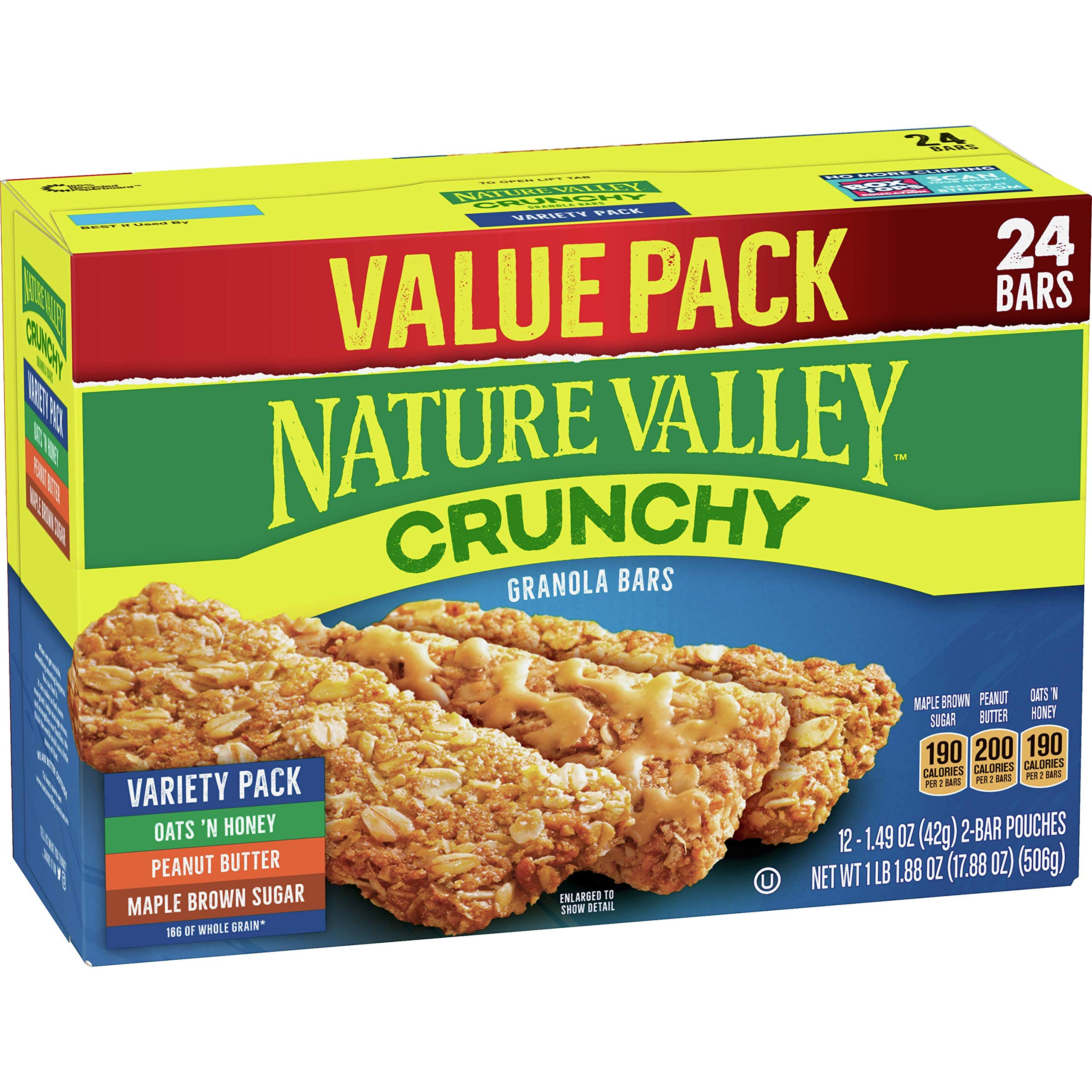 Nature Valley Crunchy Granola Bar Variety Pack, 24 Bars, 17.88 oz