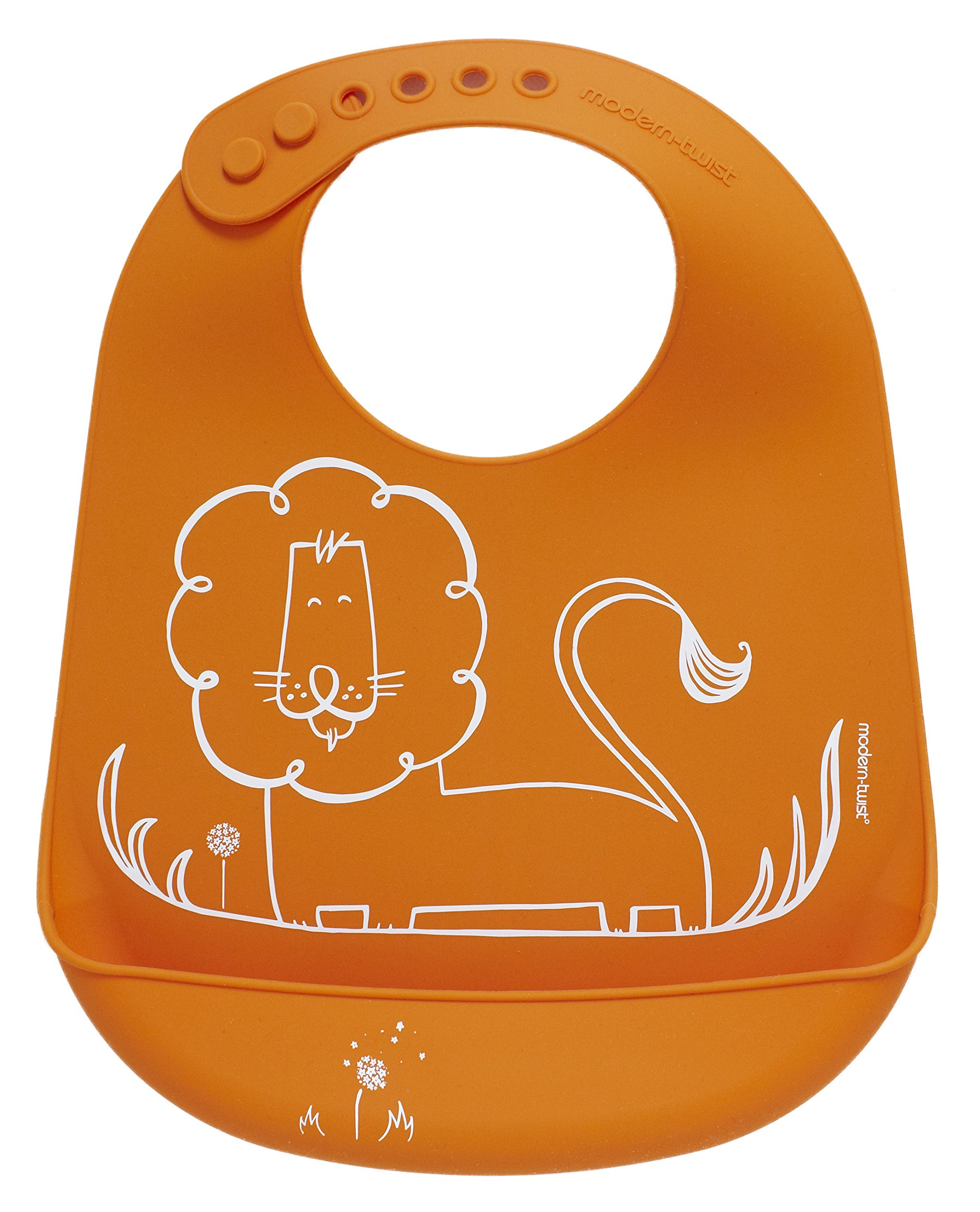 modern-twist Lion Waterproof Silicone Baby Bucket Bib with Adjustable Strap, Plastic Free, Wipe Clean and Dishwasher Safe, Orange