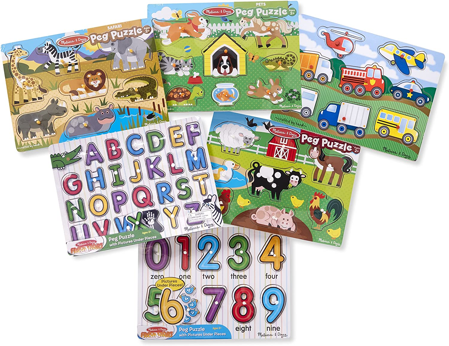 Letters Melissa /& Doug Wooden Peg Puzzle 6 Pack Numbers Vehicles Animals