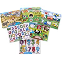 Melissa & Doug 93495 Wooden Peg Puzzle 6 Pack Numbers, Letters, Animals, Vehicles