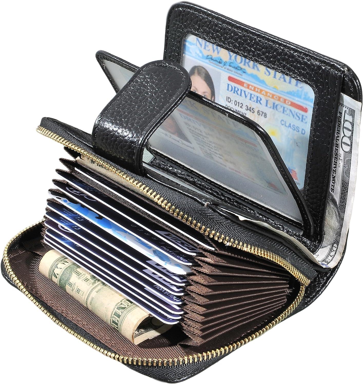 L Blue Leather Business ID Credit Card Holder Handbag Purse Storage Case Pocket
