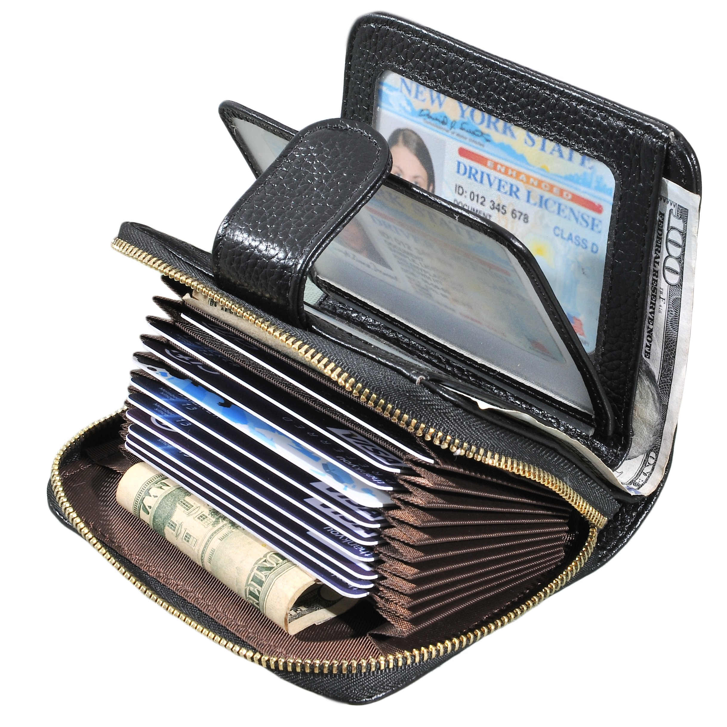 Beurlike Women's RFID Credit Card Holder Organizer Case Leather Security Wallet (Black)