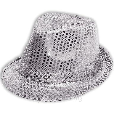 Sofias Closet Sequin brillant déguisement chapeau mou Fedora DANSE MJ Argent  - Argent, One Size  Amazon.fr  Vêtements et accessoires dbb628163d8