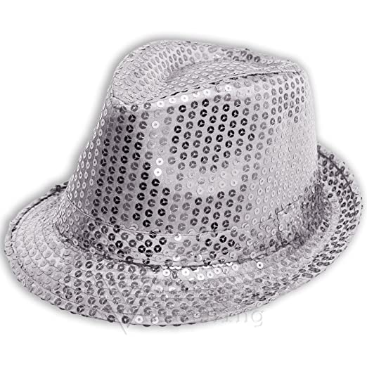 Image Unavailable. Image not available for. Color  ILOVEFANCYDRESS Sofias  Closet Sequin Sparkle Fancy Dress Trilby Hat Fedora Dance MJ Silver f2421fe106bb