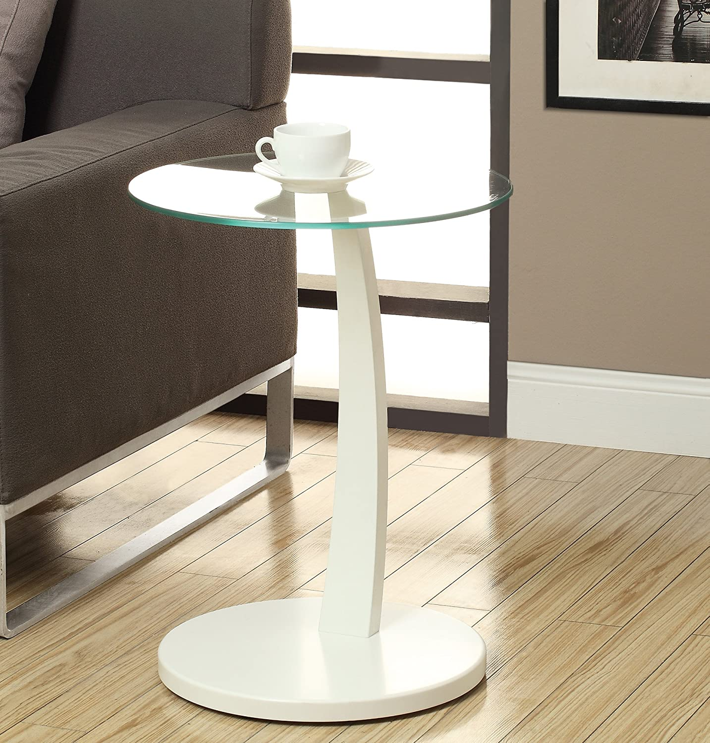 Amazon.com: Monarch Bentwood Accent Table With Tempered Glass, White:  Kitchen U0026 Dining