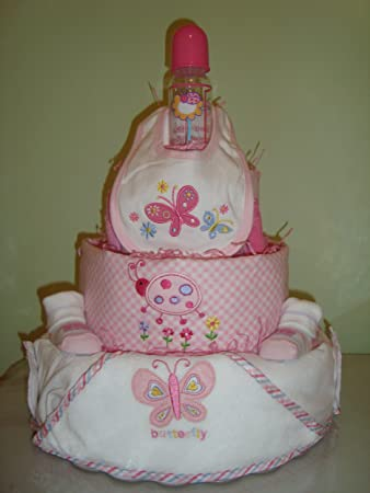 Garden Themed Large 4 Layer Baby Girl Diaper Cake Decorated All Around