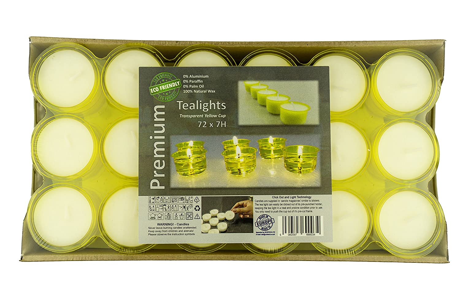 Premium 7 to 8 Hours Long Burning Time Pack of 72 Yellow Transparent Cup tea lights Eco-Friendly tealights Unscented Night Lights Candles Soy Wax Non-Toxic EU