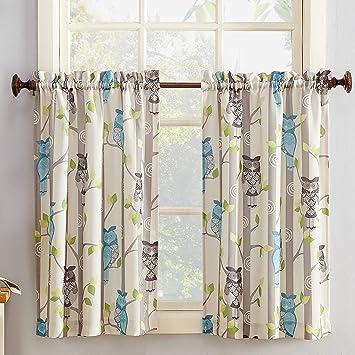 No. 918 Hoot Owl Print Kitchen Curtain Tier Pair, 56\