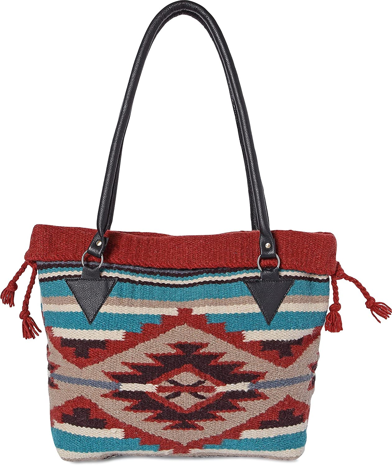 Amazon.com  Handwoven Wool Malibu Purse with Genuine Leather handles. Large  Eco Friendly Tote Bag 15d40a06a0838