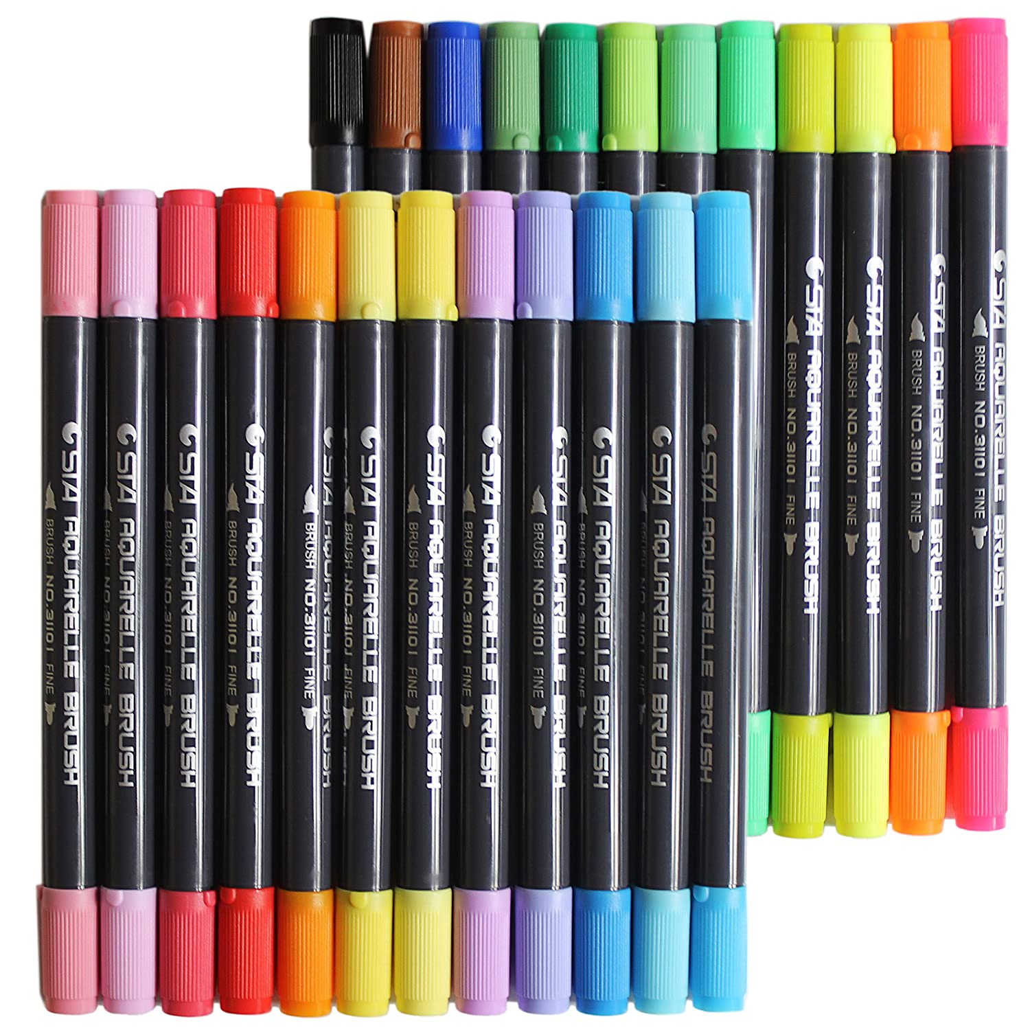 Huhuhero Art Soft Brush Pen Markers Supplies for Adult Coloring Books Dual Tip