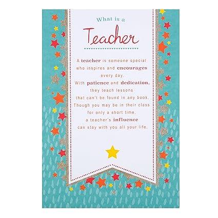 Hallmark Tarjeta de agradecimiento para profesor con mensaje en inglés «Great Teacher», mediana