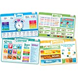Time Set - Educational Kids Placemats - Includes: Time, Calendar, Seasons and Money - Non Slip Washable
