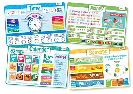 Counting Number worksheets halloween sequencing worksheets : Amazon.com: Time Set - Educational Kids Placemats - Includes: Time ...