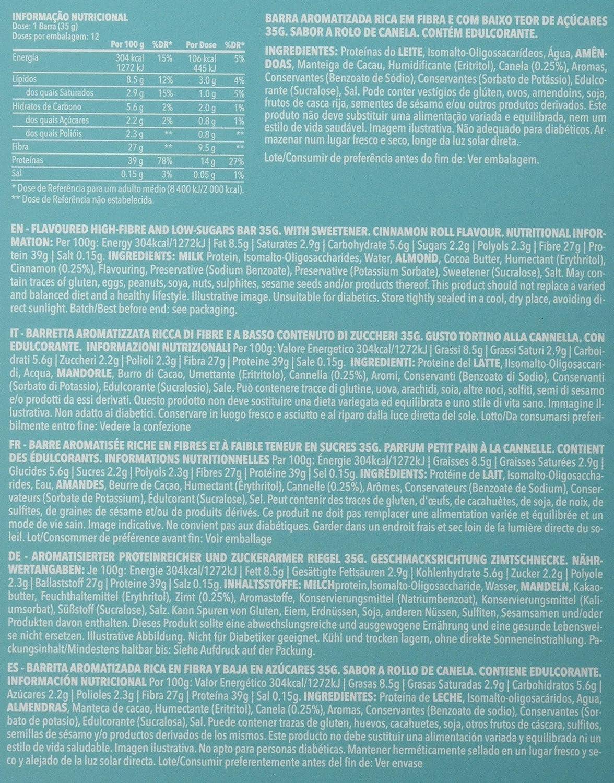 Prozis Diet Bar 12x35g - Delicioso Aperitivo Bollo de Canela - Rico en Proteína y Bajo en Hidratos de Carbono y Azúcares - Ideal para las Dietas de Pérdida ...