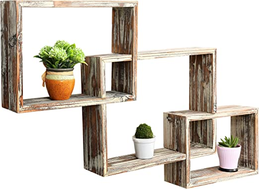 Amazon Com Mygift Wall Mounted Country Rustic Brown Interlocking Shadow Box Floating Box Display Shelves Set Of 3
