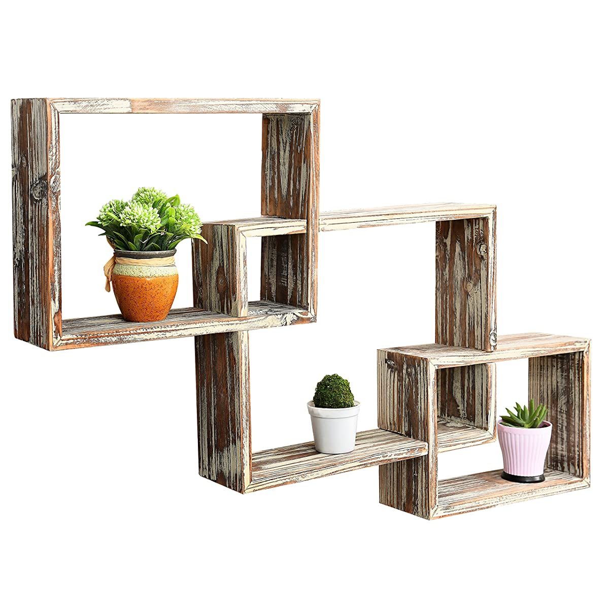 Country Rustic 3 Tier Floating Box Shelves, Decorative Wood Wall Mounted Display Shelf, Brown