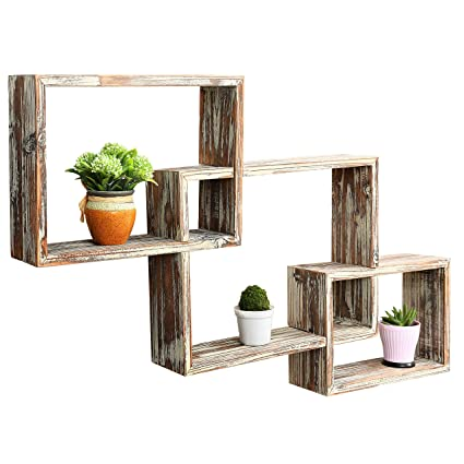 Cool Mygift Wall Mounted Country Rustic Brown Interlocking Shadow Box Floating Box Display Shelves Set Of 3 Home Interior And Landscaping Ologienasavecom