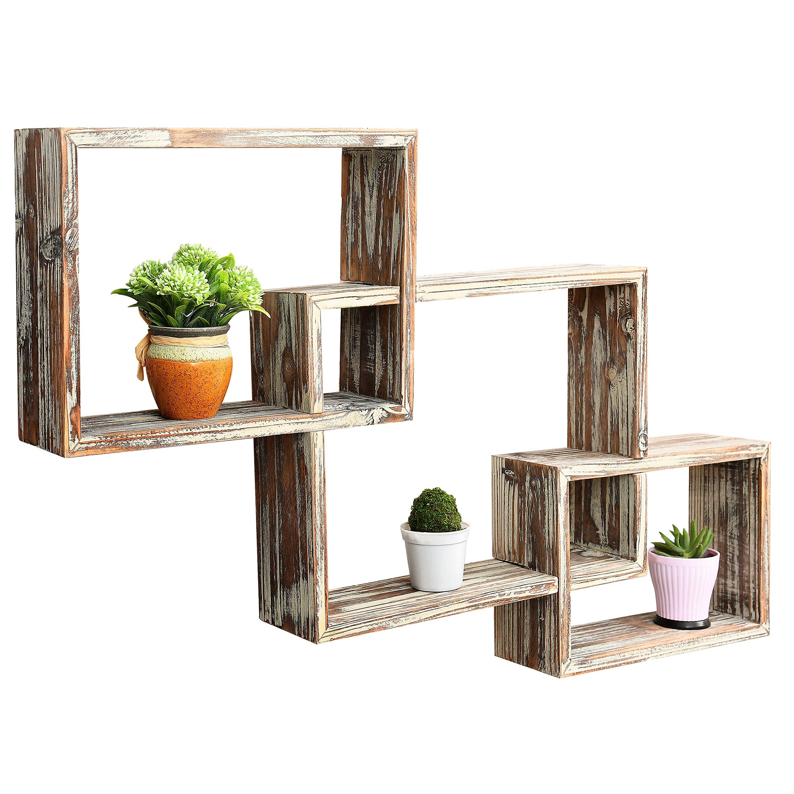 CDM product MyGift Wall-Mounted Country Rustic Brown Interlocking Shadow Box, Floating Box Display Shelves, Set of 3 big image