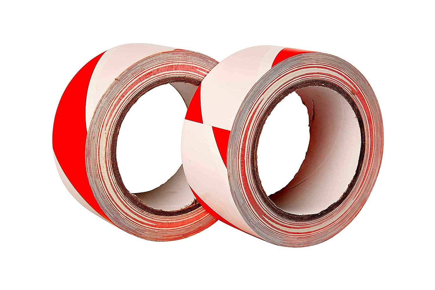 33m x 50mm 2 Rolls Premium Double Pack of Red//White Hazard Warning Tape Adhesive Marking Barrier Tape