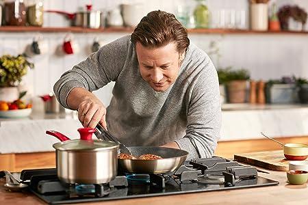 Tefal Set H801S5 edición Jamie Oliver. Sartenes y cacerolas, 5 Piezas, con Material Antiadherente, Set para Principiantes, Acero Inoxidable, Color Rojo.