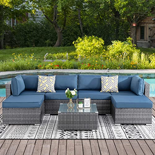 Walsunny 7pcs Patio Outdoor Furniture Sets,Low Back All-Weather Rattan Sectional Sofa