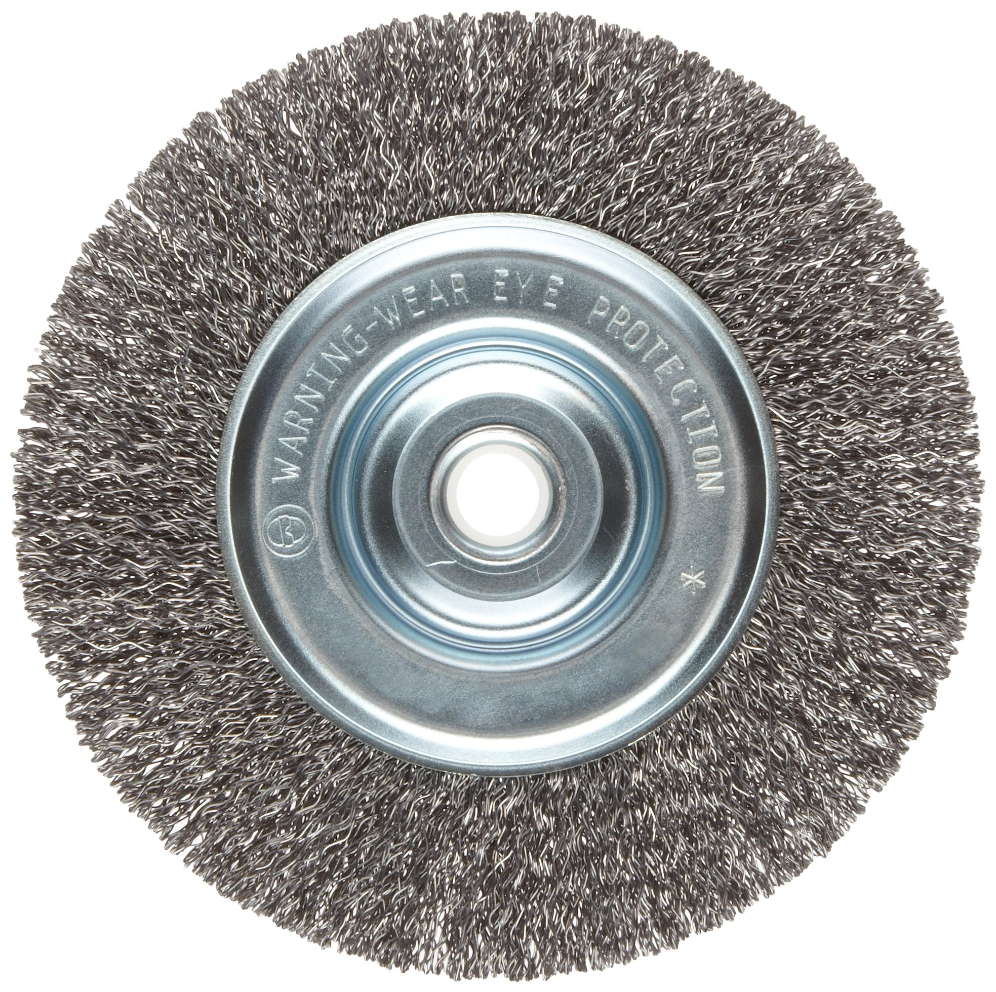 Weiler Vortec Pro Narrow Face Wire Wheel Brush, Round Hole, Carbon Steel, Crimped Wire, 6'' Diameter, 0.014'' Wire Diameter, 5/8-1/2'' Arbor, 6000 rpm