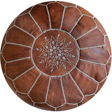 Amazon.com: Puf de piel marroquí de primera calidad – hecho ...